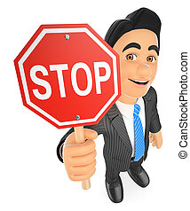 3D Businessman with a stop sign