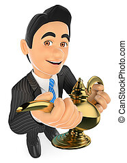 3D Businessman with a wonderful lamp. Lucky concept