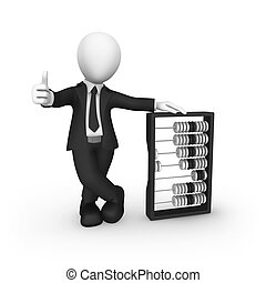 3d businessman with abacus shows thumbs up gesture