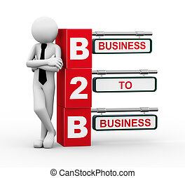 3d businessman with b2b signpost illustration