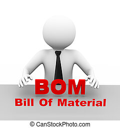 3d businessman with bill of material bom