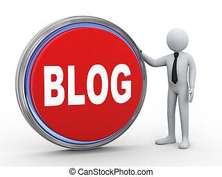 3d businessman with blog button