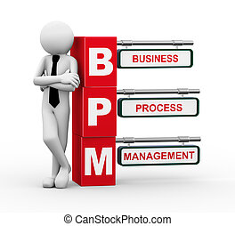 3d businessman with bpm signpost illustration - 3d rendering...
