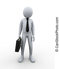 3d businessman with briefcase