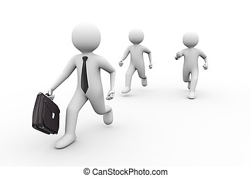 3d businessman with briefcase in race