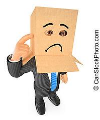3D Businessman with cardboard box on head. Sad