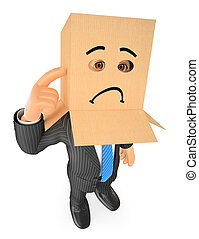 3D Businessman with cardboard box on head. Sad - 3d business...