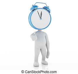 3d businessman with clock. Out of time.
