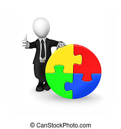 3d businessman with colored puzzle shows thumbs up.