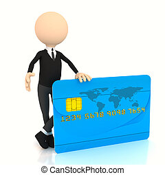 3d businessman with credit card