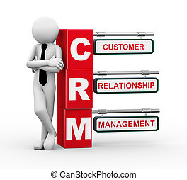 3d rendering of business person standing with crm - customer relationship Management. 3d white people man character