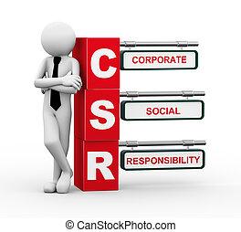 3d businessman with csr signpost illustration