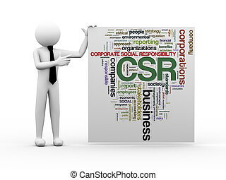 3d businessman with csr word tags