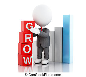3d businessman with cubes with word grow.
