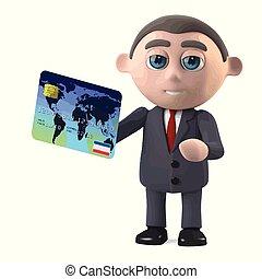 3d Businessman with debit card - 3d render of a businessman...