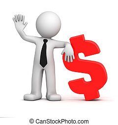 3d businessman with dollar currency symbol