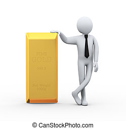 3d businessman with fine gold bar - 3d illustration of...