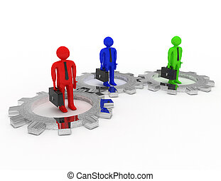 3d businessman with gears. teamwork concept. rendered illustration