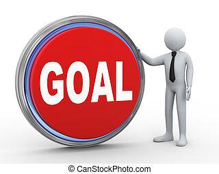 3d businessman with goal button