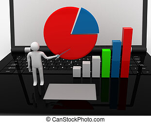 3D businessman with graph.success concept
