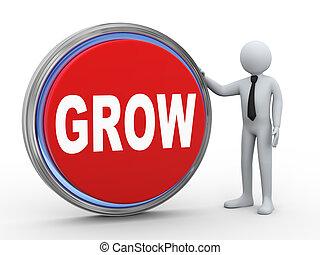3d businessman with grow button