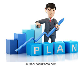 3d Businessman with growth graph and word plan.