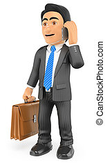 3D Businessman with his briefcase talking on the mobile phone