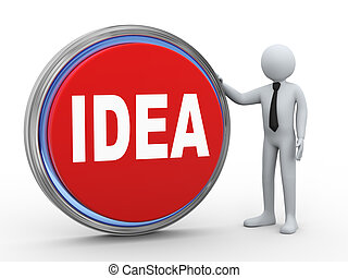3d businessman with idea button