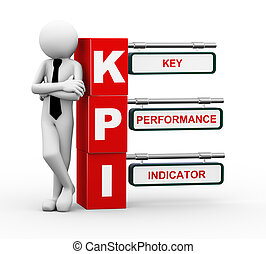 3d businessman with kpi signpost illustration