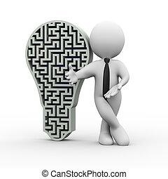 3d businessman with maze bulb