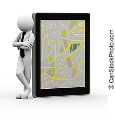 3d businessman with mobile gps