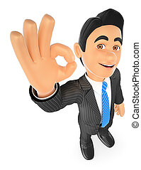 3D Businessman with ok sign in hand