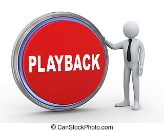 3d businessman with playback button