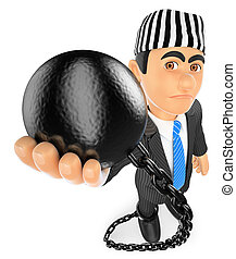 3D Businessman with prisoner ball. Corrupt politician