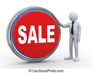 3d businessman with sale button