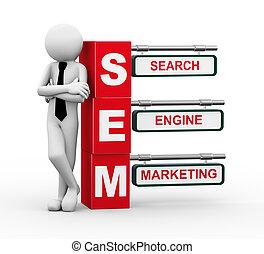 3d businessman with sem signpost illustration