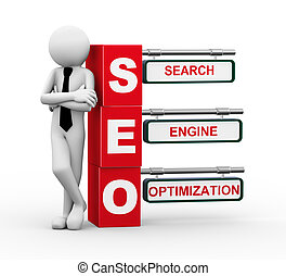 3d businessman with seo signpost illustration