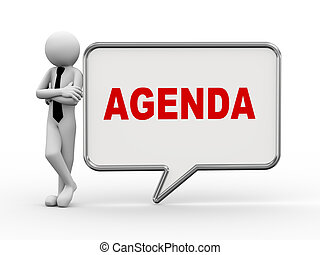3d businessman with speech bubble - agenda