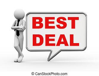 3d businessman with speech bubble - best deal