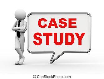 3d businessman with speech bubble - case study