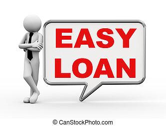 3d businessman with speech bubble - easy loan