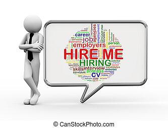 3d businessman with speech bubble - hire me tags - 3d...