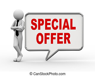 3d businessman with speech bubble - special offer
