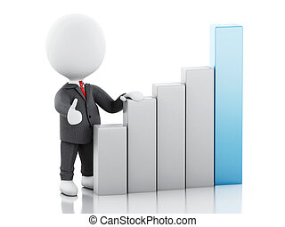 3d Businessman with statistic graph. Success concept.