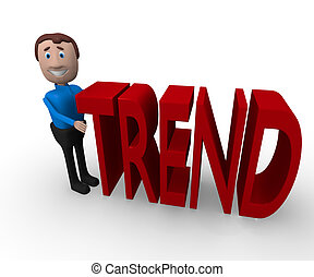 3d businessman with the word trend