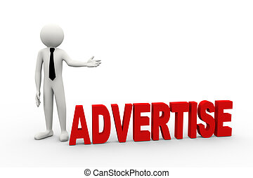 3d businessman with word advertise
