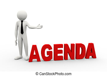 3d rendering of business person presentation of agenda word. 3d white people man character