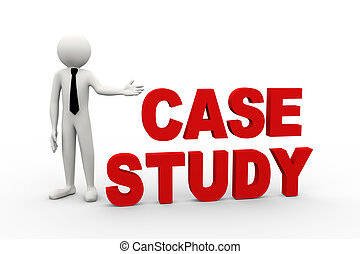 3d businessman with word case study