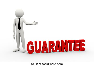 3d businessman with word guarantee