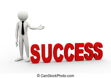 3d businessman with word success
